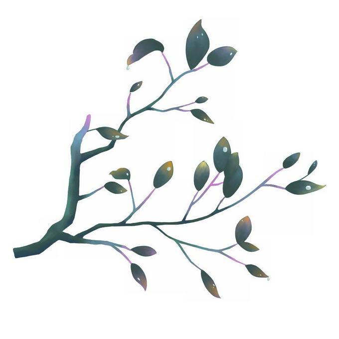 水彩画风格树枝和树叶7029915png免抠图片素材