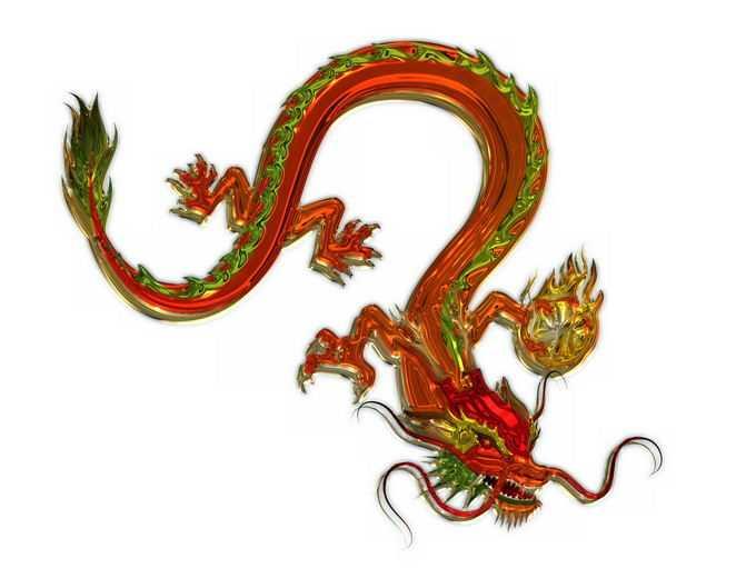 3D立体红色金色中国龙2855027png免抠图片素材