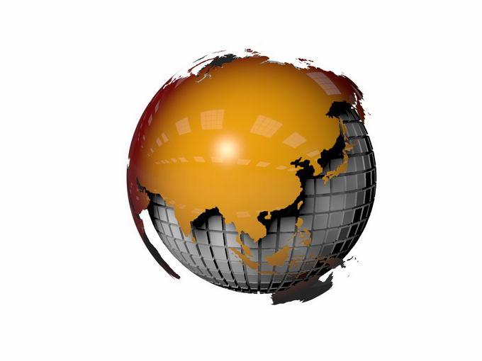 3D立体橙色地球模型6296767png免抠图片素材