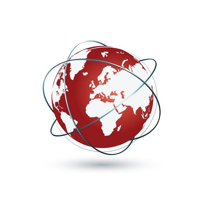 红色地球和卫星轨道线9880115png免抠图片素材