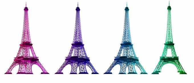 4种颜色的巴黎埃菲尔铁塔经典建筑8468043png免抠图片素材