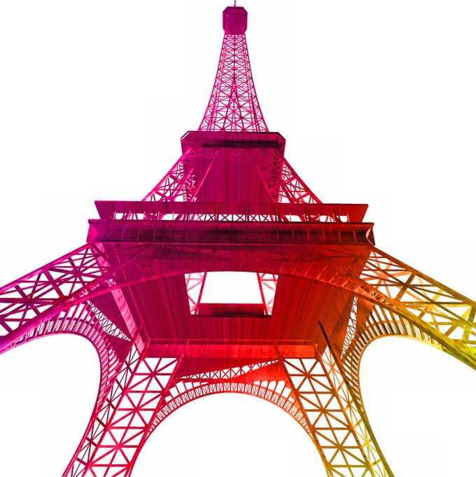 仰望的渐变色风格巴黎埃菲尔铁塔经典建筑8825206png免抠图片素材