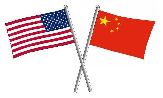 交叉的中国五星红旗和美国国旗星条旗中美关系3807167png免抠图片素材