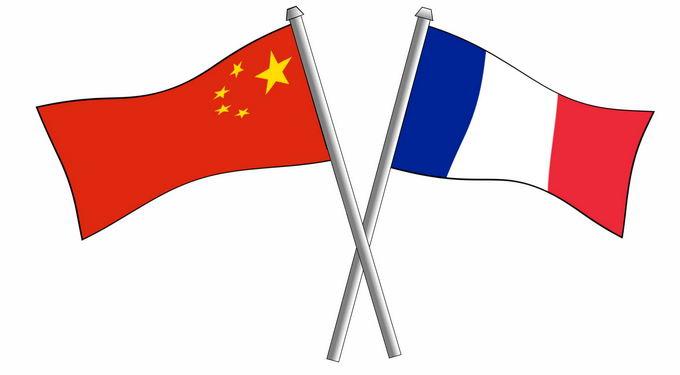 交叉的中国五星红旗和法国国旗中法关系7423942png免抠图片素材
