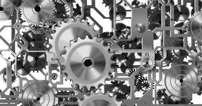 金属银灰色齿轮组成的复杂机械结构6909006png免抠图片素材