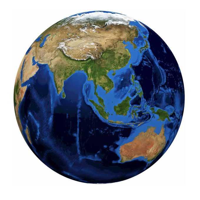 定位在东南亚东亚上空的地球地形图模型7890560png免抠图片素材