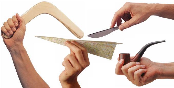 手拿回旋镖纸飞机餐刀和烟斗8912450png免抠图片素材