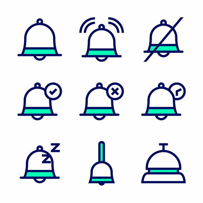 9款卡通线条铃铛手机提醒图标3341956矢量图片免抠素材