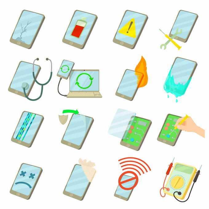 16款手机损坏类型和维修碎屏进水摔坏等故障8712353矢量图片免抠素材