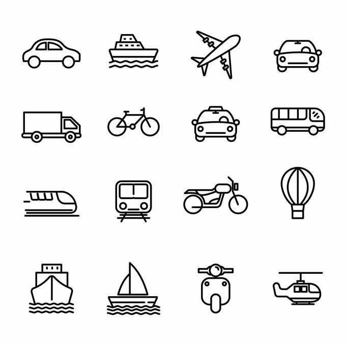 汽车轮船飞机自行车地铁等交通工具线条图标6839961矢量图片免抠素材