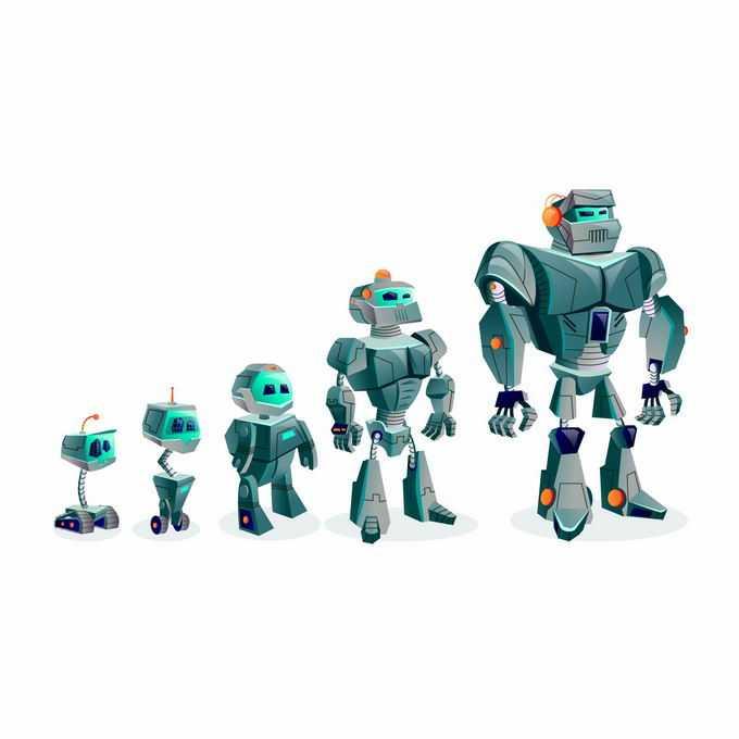 卡通小机器人长大变成大机器人8240194矢量图片免抠素材