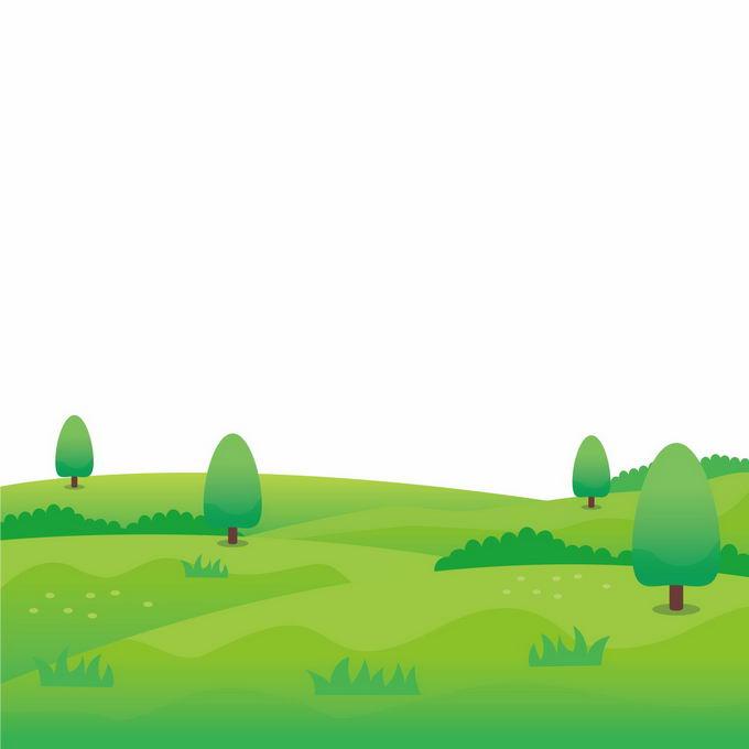 卡通草原风景和上面的大树8945139矢量图片免抠素材