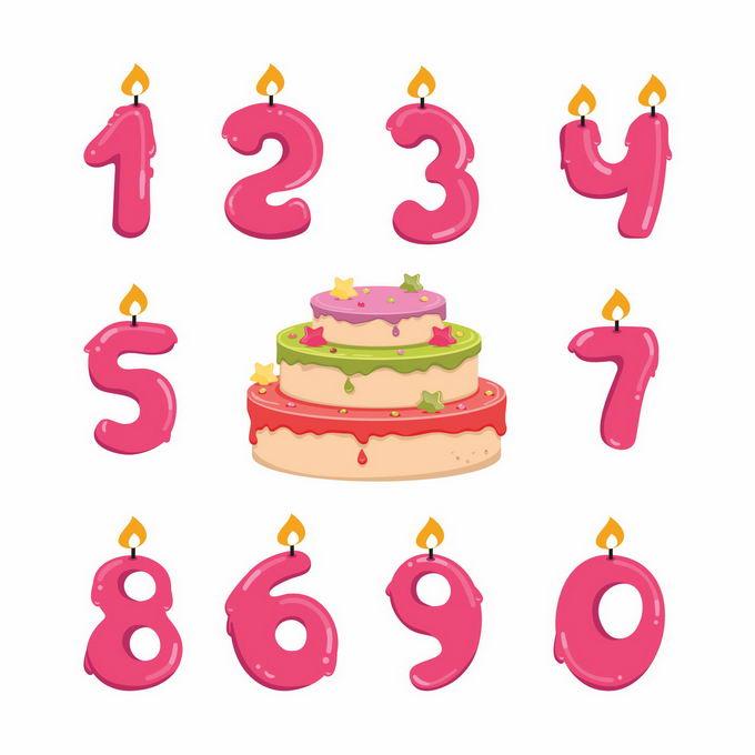 红色生日蜡烛数字蜡烛和生日蛋糕3479375矢量图片免抠素材
