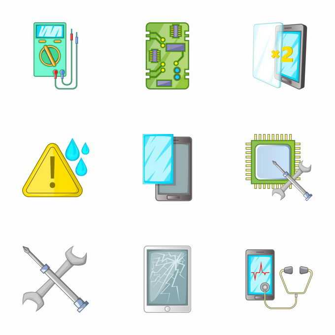 万用表手机主板换屏手机维修图标9469748矢量图片免抠素材