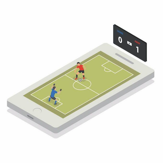 2.5D风格手机上的足球游戏5573537矢量图片免抠素材