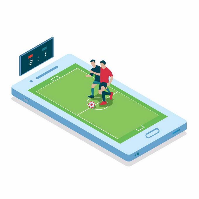 2.5D风格手机上的足球游戏3740954矢量图片免抠素材
