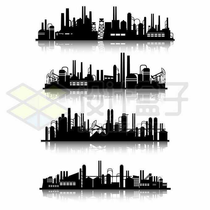 4款重工业化工厂炼油厂剪影3763361矢量图片免抠素材免费下载