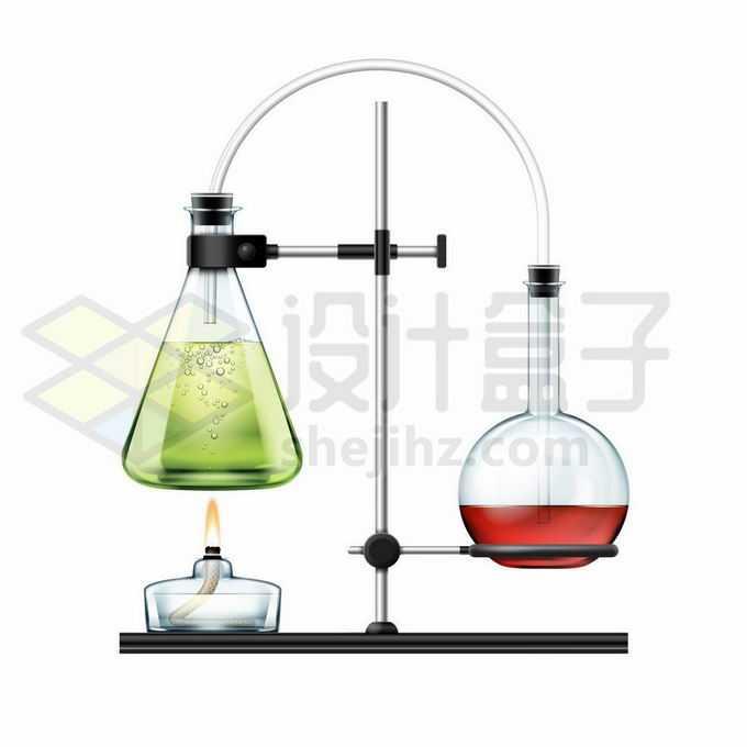 酒精灯锥形瓶平底烧瓶组成的蒸馏装置等化学实验仪器5515176矢量图片免抠素材免费下载
