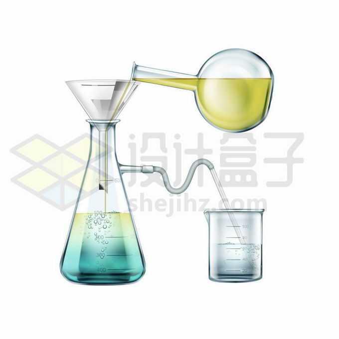 平底烧瓶玻璃漏斗锥形瓶和烧杯等化学实验仪器9074098矢量图片免抠素材免费下载