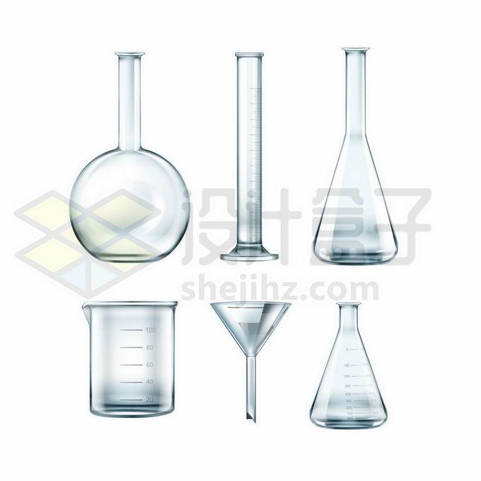 平底烧瓶量筒锥形瓶烧杯玻璃漏斗等化学实验仪器7233203矢量图片免抠素材免费下载