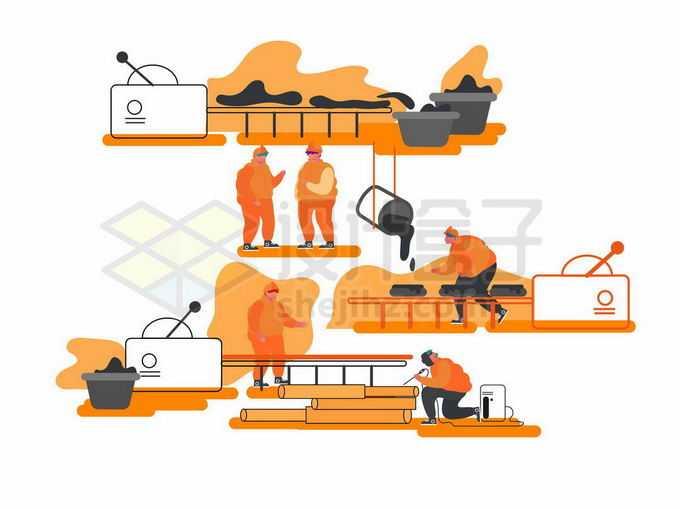 冶金厂钢铁厂炼钢厂钢管生产流水线和工人插画8983974矢量图片免抠素材免费下载