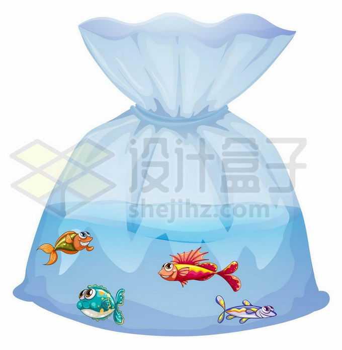 透明塑料袋中的卡通金鱼观赏鱼1466704矢量图片免抠素材免费下载