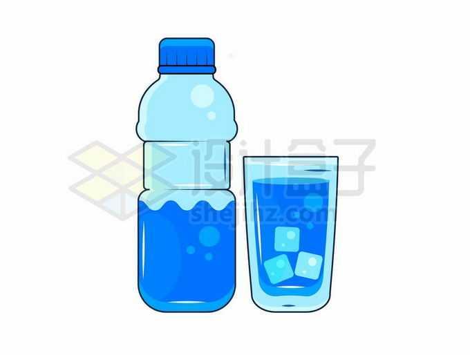 蓝色饮料瓶和水杯中的饮用水9313575矢量图片免抠素材免费下载