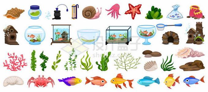 各种各样的热带鱼珊瑚水草鱼缸等养鱼设备8170961矢量图片免抠素材免费下载