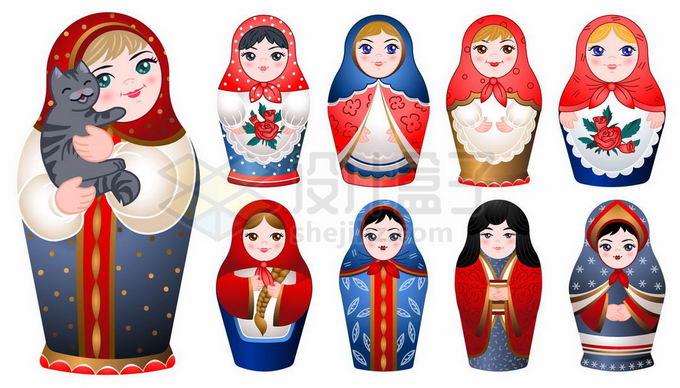 各种各样的俄罗斯套娃7610056矢量图片免抠素材免费下载