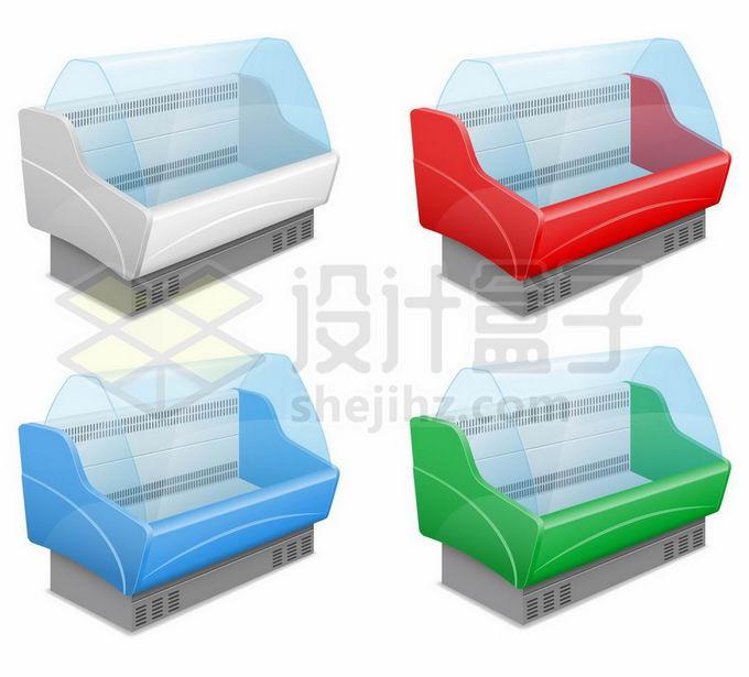 4款彩色超市菜场透明冰柜保鲜柜冷藏柜冷柜9074247矢量图片免抠素材免费下载