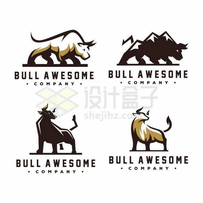 4款复古风格公牛标志logo设计3483686矢量图片免抠素材