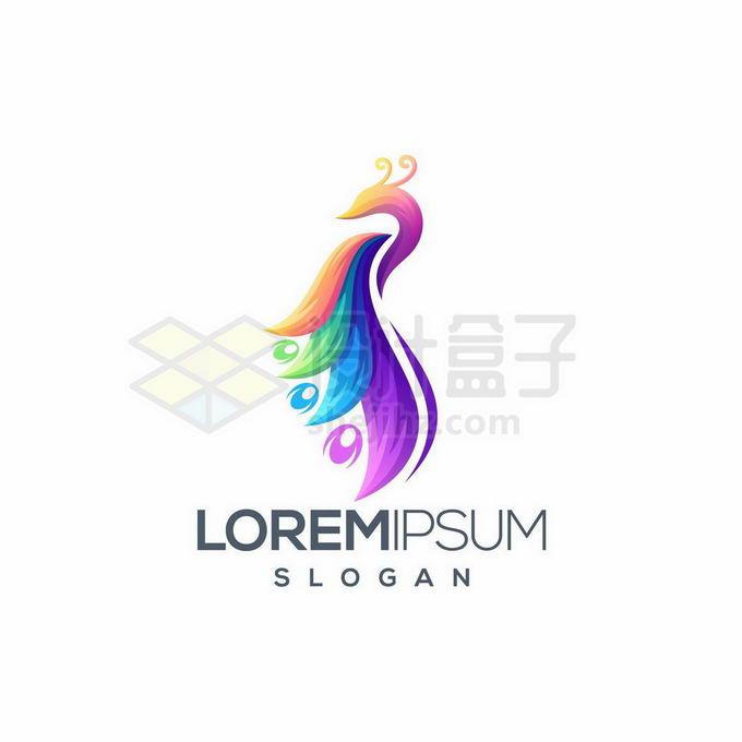 创意彩色孔雀凤凰标志logo设计2475642矢量图片免抠素材