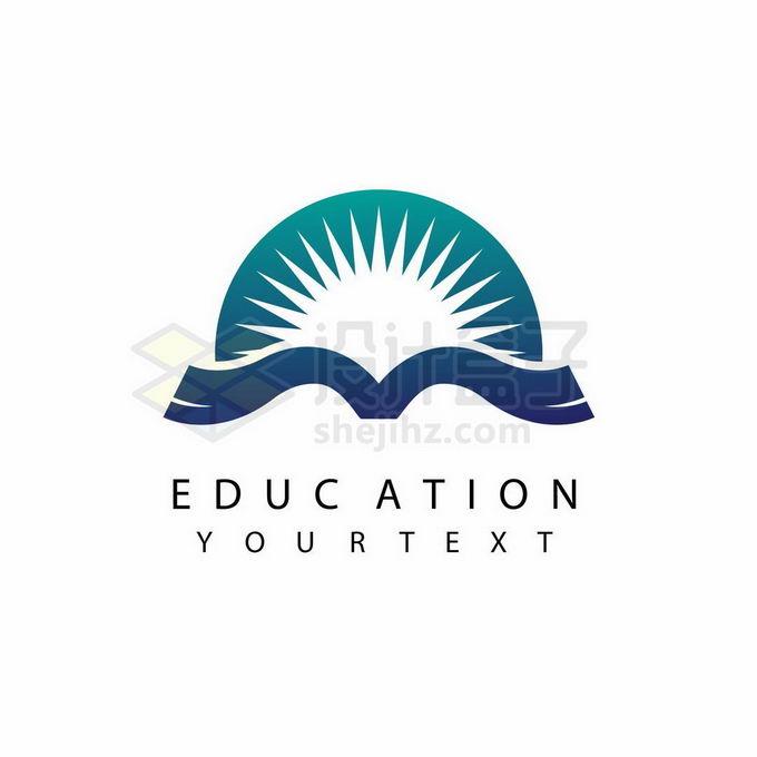 打开的书本和日出创意教育培训机构标志logo设计9553232矢量图片免抠素材