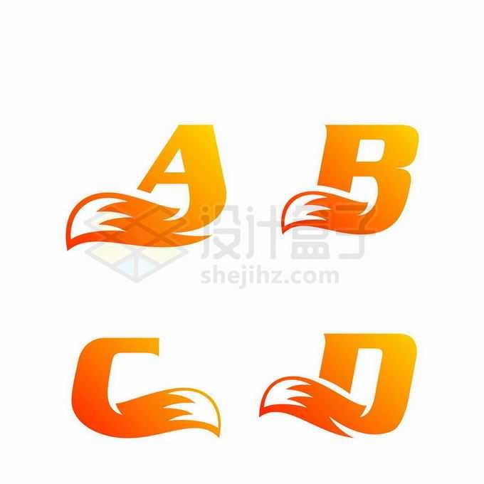 大写字母ABCD变形体和狐狸尾巴创意标志logo设计4795155矢量图片免抠素材