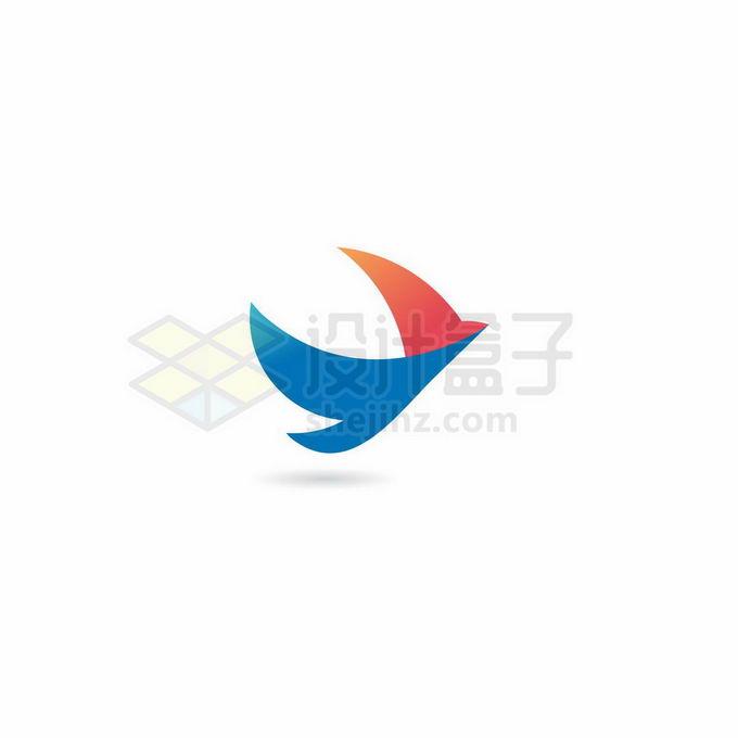 蓝色和红色折纸风格的飞翔的鸟儿标志logo设计8526390矢量图片免抠素材