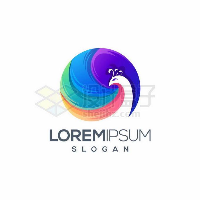 彩色孔雀组成的圆形创意标识logo设计8927355矢量图片免抠素材