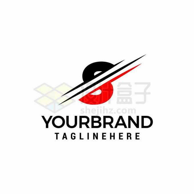 刀锋切割风格创意黑色红色大写字母S标志logo设计1651417矢量图片免抠素材