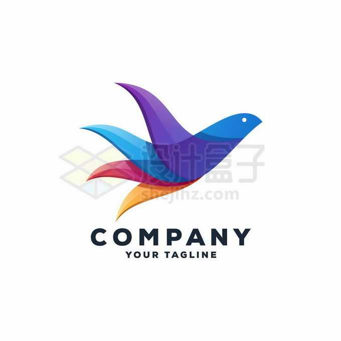 彩色拼色风格的飞鸟创意标志logo设计5362637矢量图片免抠素材