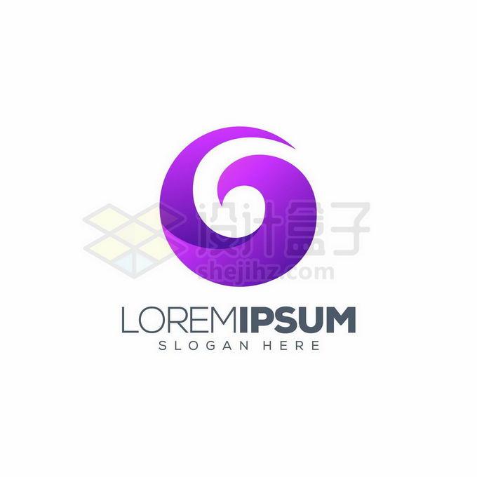 渐变色风格紫色螺旋形状创意标志logo设计8570094矢量图片免抠素材