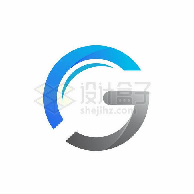 蓝色灰色创意大写字母G标志logo设计5015310矢量图片免抠素材