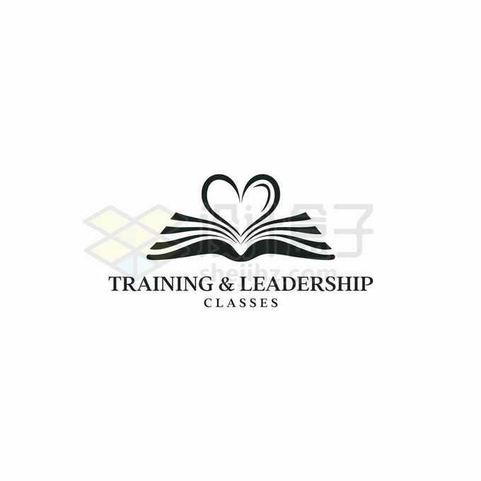 黑色打开的书本组成心形图案创意教育培训机构标志logo设计8650260矢量图片免抠素材