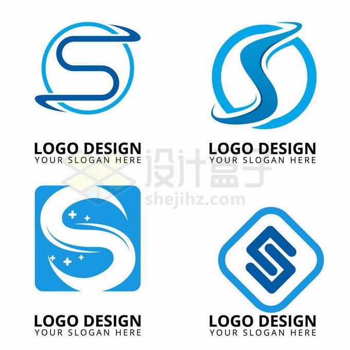 4款创意蓝色大写字母S标志logo设计4033415矢量图片免抠素材