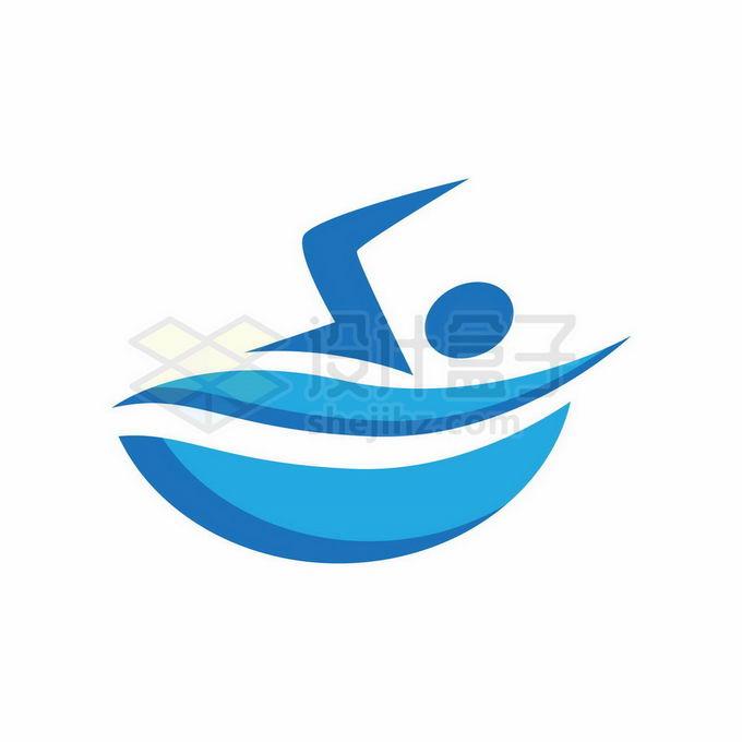 蓝色小人儿正在游泳创意游泳馆标志logo设计6027347矢量图片免抠素材