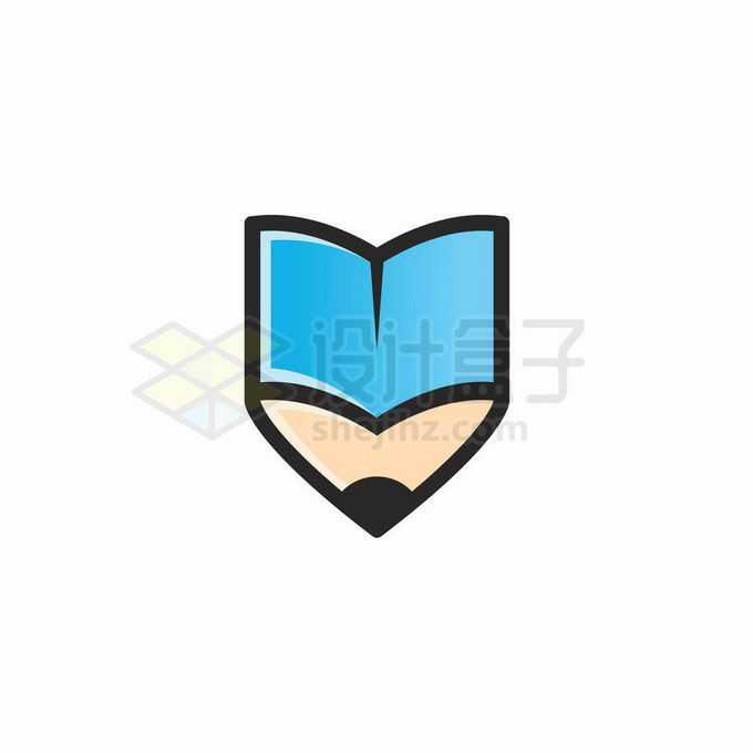 蓝色的书本和铅笔的结合体创意教育培训机构标志logo设计7936049矢量图片免抠素材