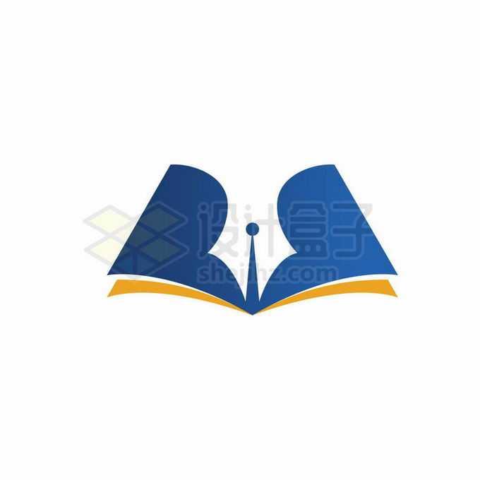 打开的橙色蓝色书本和钢笔头图案创意教育培训机构标志logo设计4933101矢量图片免抠素材