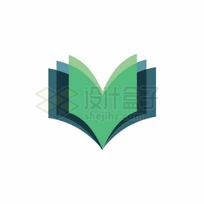 翻开的绿色书本创意教育培训机构标志logo设计9223091矢量图片免抠素材