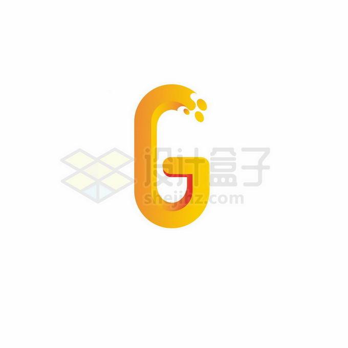 创意黄色3D立体风格大写字母G标志logo设计5526602矢量图片免抠素材