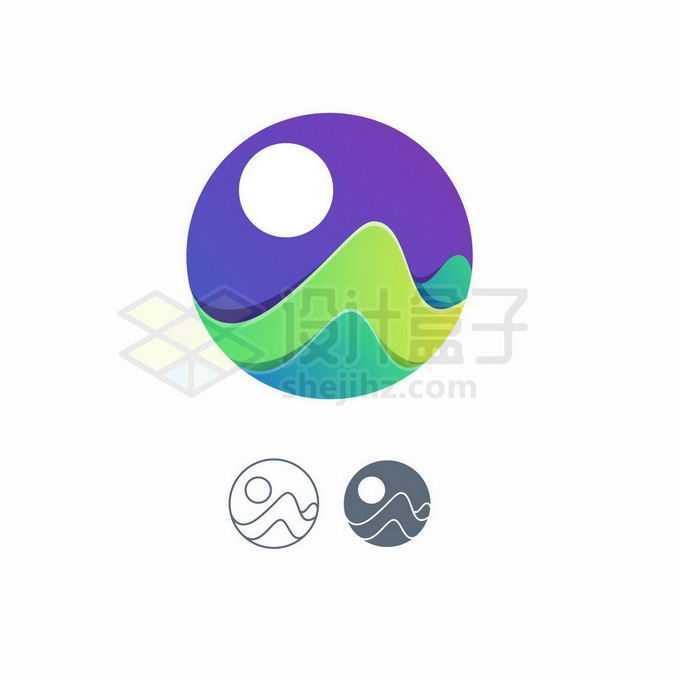 创意3D立体风格月亮和山峦或海洋风景标志logo设计7385553矢量图片免抠素材