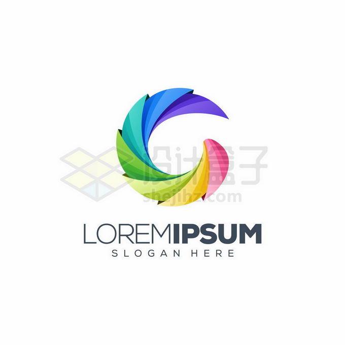 创意3D立体风格彩色弧形组成的标志logo设计3097076矢量图片免抠素材