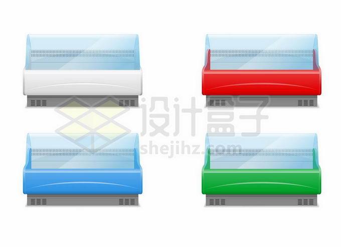 白色红色蓝色绿色超市菜场透明冰柜保鲜柜冷藏柜冷柜2831989矢量图片免抠素材免费下载